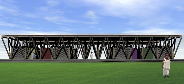 Projeto em 3D da Escola de Bambu na Libéria