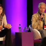Lucas Rocha (Fundação Lemann), Camila Achutti (Technovation) e Marco Namura (IPTI) em palco sobre makers - Foto: Luciana Serra