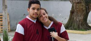 Ângelo Gabriel dos Santo Moreira e Clara Bruder, da Escola Dona Ana Rosa de Araújo