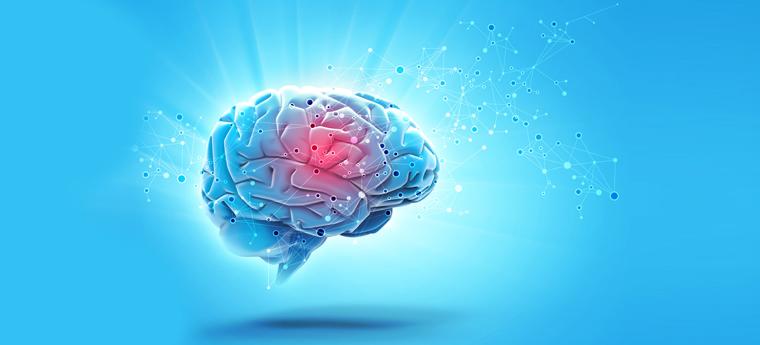 Imagem azul mostra cérebro brilhando para ressaltar a importância da neurociência